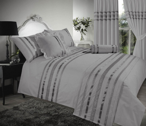 GREY & SILVER STYLISH SEQUIN DUVET COVER LUXURY BEAUTIFUL GLAMOUR SPARKLE EGYPTIAN COTTON BEDDING